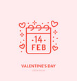 calendar with february 14 date flat line icon vector image vector image