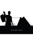 camping in nature man silhouette in black vector image vector image