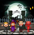 cartoon happy kids with halloween costume vector image