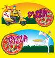 chef character pizza scooter food box isolated on vector image vector image