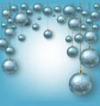 christmas background with blue balls vector image vector image