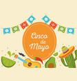 cinco de mayo guitar cactus hat avocado lemon vector image vector image