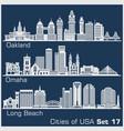 cities usa - oakland long beach omaha vector image vector image