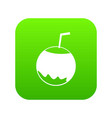 coconut with straw icon digital green vector image