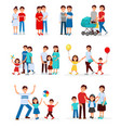 collection of young families young couples vector image