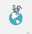 Cute children on globe vector image vector image