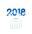 design template floral calendar 2018 vector image