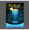 Disco cocktail party poster 3D cocktail design vector image
