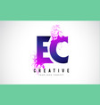 ec e c purple letter logo design with liquid vector image vector image