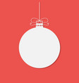 flat white christmas bauble with shadow isolated o vector image vector image