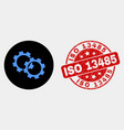 gears icon and distress iso 13485 seal vector image vector image