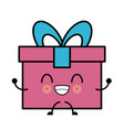 gift box isolated cute kawaii cartoon vector image vector image