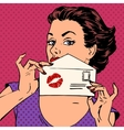 girl with envelope for letter and kiss lipstick vector image