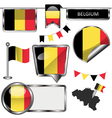 Glossy icons with Belgian flag vector image vector image