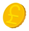 Gold coin with Pound sign icon cartoon style vector image