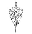 graphic flower pierced by the knife vector image vector image