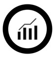 growth chart icon black color in circle vector image vector image