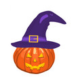 halloween pumpkin hat isolated on white vector image vector image