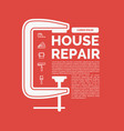 house repair with tools and clamp vector image vector image