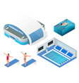 isometric set of modern building swimming vector image vector image