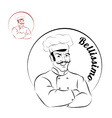 Italian chef logo for restaurant Bellissimo Sign vector image