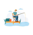 man fishing guy sitting on chair with fishing rod vector image vector image