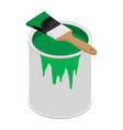 metal paint can with green paint and paintbrush vector image vector image