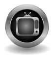 Metallic tv button vector image vector image