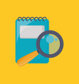 notepad and magnifying glass icon vector image vector image