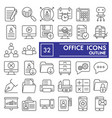 office thin line icon set workspace symbols vector image vector image