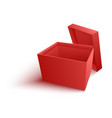 open empty red paper box in vector image vector image