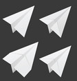 paper airplane set in white vector image vector image