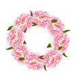 pink peony flower wreath vector image vector image