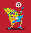 pizza character plays guitar and sings image vector image