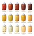 Sauces set Ketchup mustard harissa cocktail vector image vector image