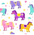 seamless pattern carousel horses colorful cute vector image vector image