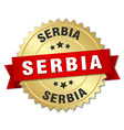 Serbia round golden badge with red ribbon vector image vector image