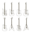 set of bright electric guitars vector image vector image