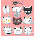 Set of cute doodle cats Sketch cat Cat handmade vector image vector image