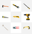 set of instruments realistic symbols with ax saw vector image