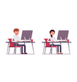 set of male and female clerk sitting at the vector image vector image