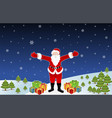 smiling santa claus with christmas gifts on snow vector image vector image