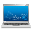 stock chart on laptop mobile workstation vector image vector image