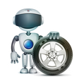 The robot with a car wheel vector image vector image