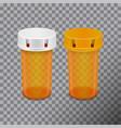 transparent pills bottle isolated on white vector image