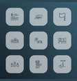 urban icons line style set with telephone box vector image