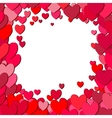 Valentines Day square frame with scattered hearts vector image vector image