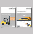 warehouse flyer set with forklift truck vector image