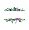 watercolor green banner tropical leaves and vector image vector image