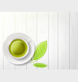 white cup with herbal green tea vector image vector image